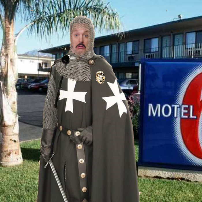 photo of  a Knight Hospitaller guarding a motel 6.