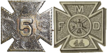 Comparison of the Civil War Badge of V Corps, US Army, and the original design of the badge of the Metropolitan Fire Department of New York